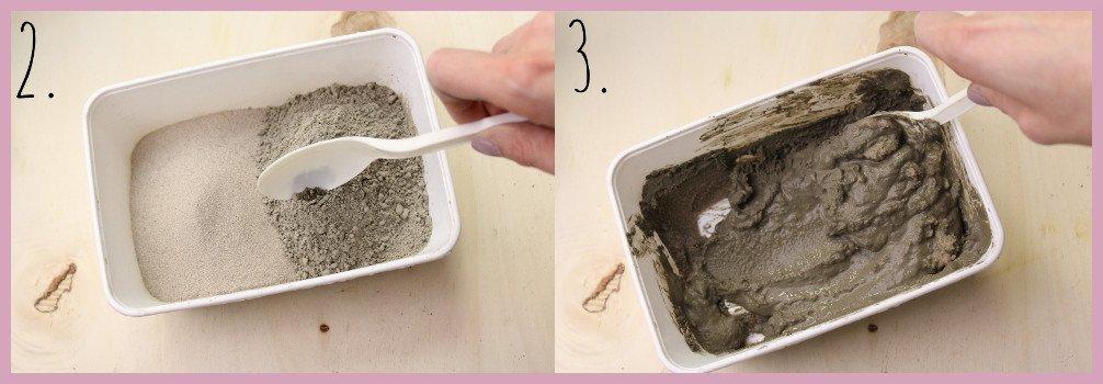 Teelichthalter aus Beton selber machen mit frau friemel Schritt 2-3