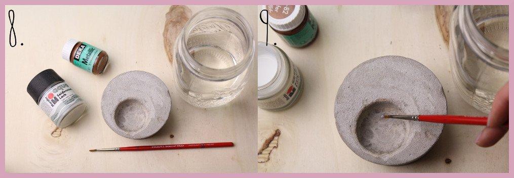 Teelichthalter aus Beton selber machen mit frau friemel Schritt 8-9