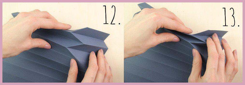 Vase aus Papier falten mit frau friemel Schritt 12-13