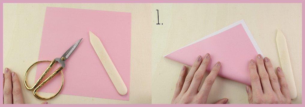 Origami Schleife falten Schritt 1 und Material - Anleitung von frau friemel