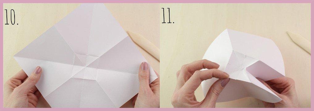 Origami Schleife falten Schritt 10-11 - Anleitung von frau friemel