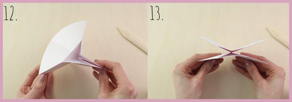 Origami Schleife falten Schritt 12-13 - Anleitung von frau friemel