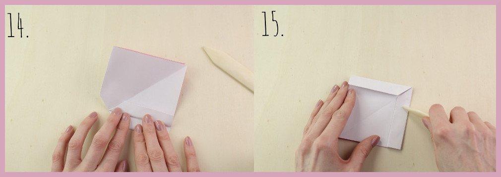 Origami Schleife falten Schritt 14-15 - Anleitung von frau friemel