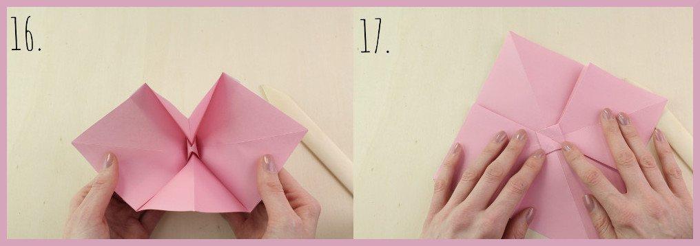 Origami Schleife falten Schritt 16-17 - Anleitung von frau friemel