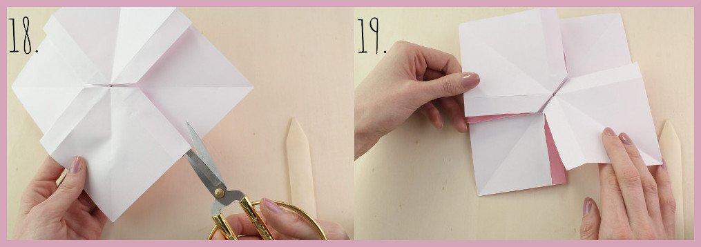 Origami Schleife falten Schritt 18-19 - Anleitung von frau friemel