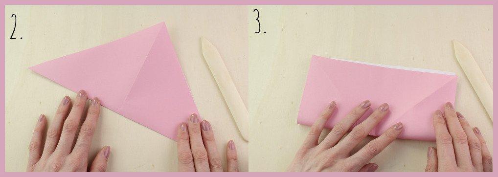 Origami Schleife falten Schritt 2-3 - Anleitung von frau friemel