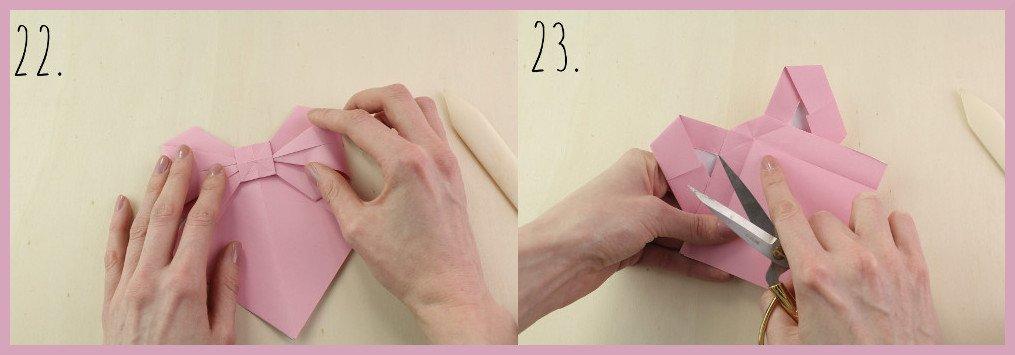 Origami Schleife falten Schritt 20-21 - Anleitung von frau friemel