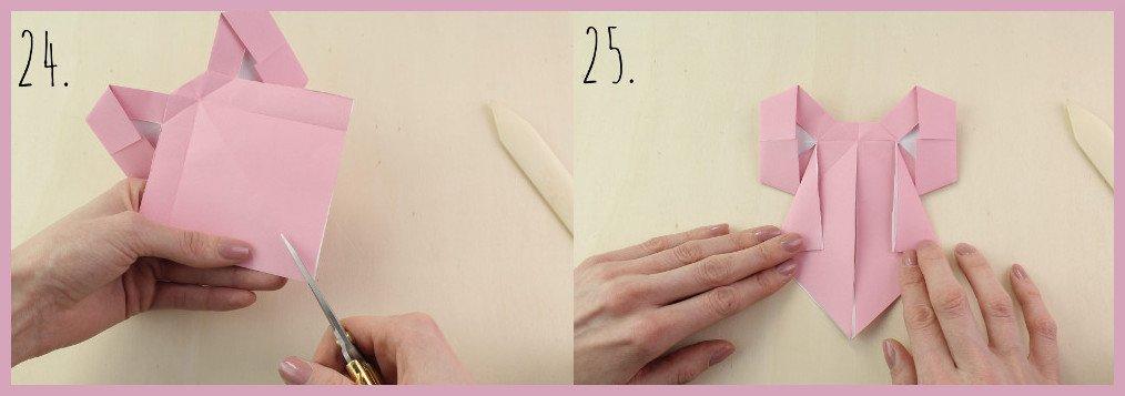 Origami Schleife falten Schritt 24-25 - Anleitung von frau friemel