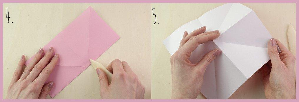Origami Schleife falten Schritt 4-5 - Anleitung von frau friemel