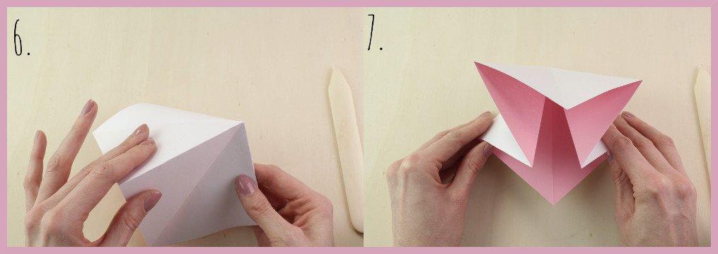 Origami Schleife falten Schritt 6-7 - Anleitung von frau friemel