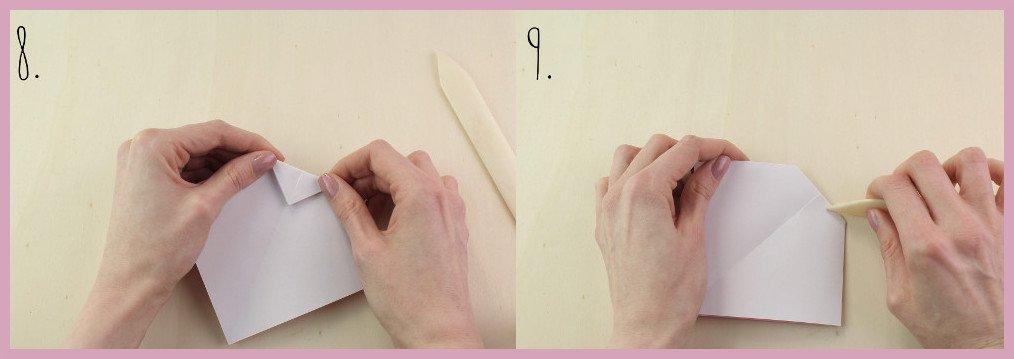 Origami Schleife falten Schritt 8-9 - Anleitung von frau friemel