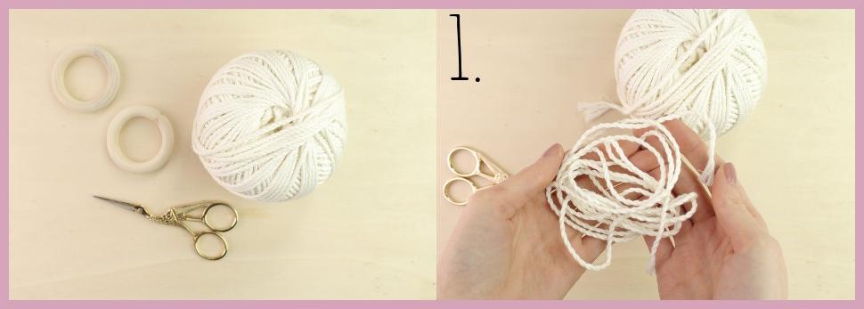 DIY Makramee Tasche knüpfen mit frau friemel - Material und Schritt 1