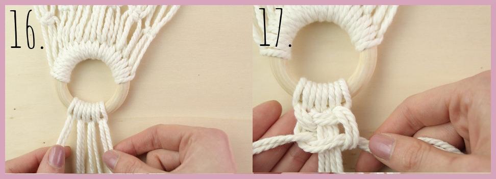 DIY Makramee Tasche knüpfen mit frau friemel - Material und Schritt 16-17