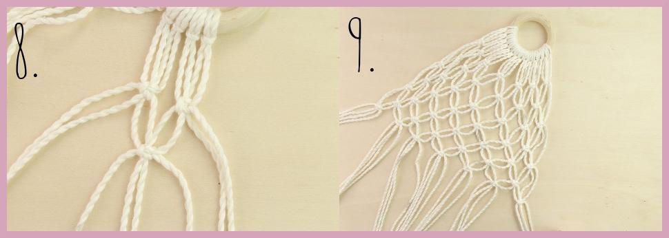 DIY Makramee Tasche knüpfen mit frau friemel - Material und Schritt 8-9
