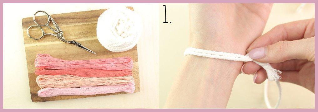 DIY Anleitung - Einfaches Makramee Armband knüpfen - Material und Schritt 1