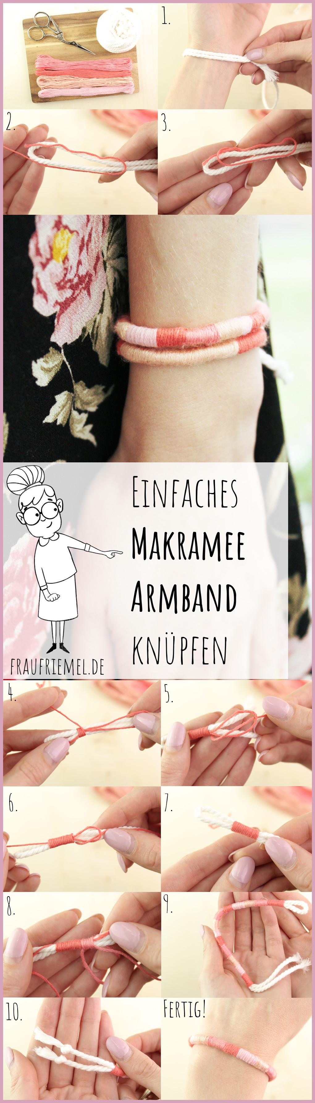 DIY Anleitung - Einfaches Makramee Armband knüpfen
