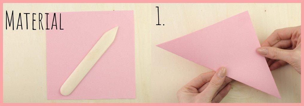 Origami Sternschachtel falten mit frau friemel - Material u. Schritt 1