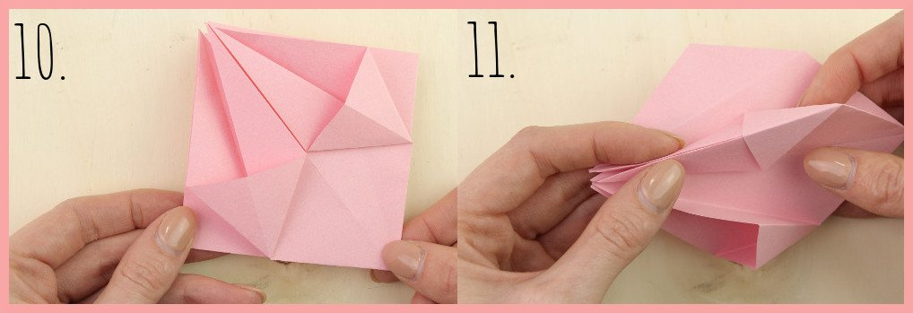 Origami Sternschachtel falten mit frau friemel - Schritt 10-11