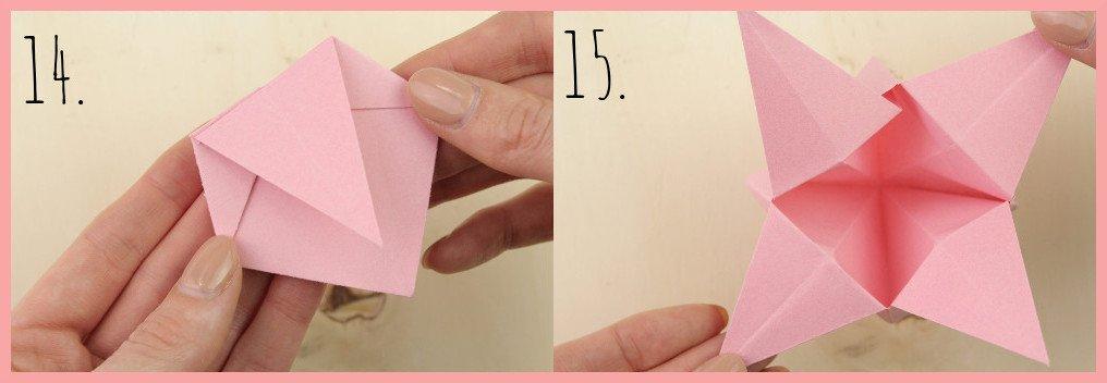 Origami Sternschachtel falten mit frau friemel - Schritt 14-15