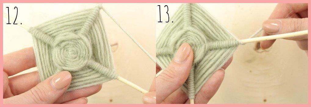 Weben ohne Webrahmen - Wanddeko selber machen mit frau friemel Schritt 12-13