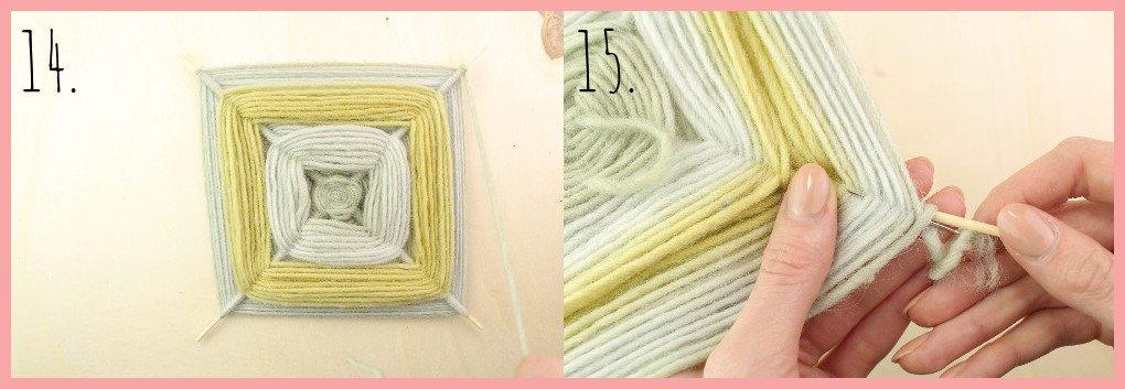 Weben ohne Webrahmen - Wanddeko selber machen mit frau friemel Schritt 14-15