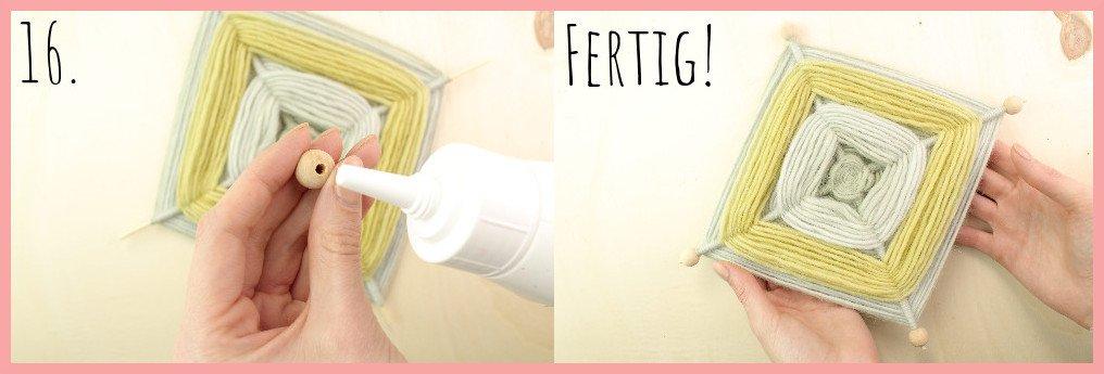 Weben ohne Webrahmen - Wanddeko selber machen mit frau friemel Schritt 16