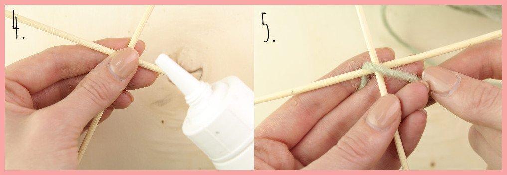 Weben ohne Webrahmen - Wanddeko selber machen mit frau friemel Schritt 4-5