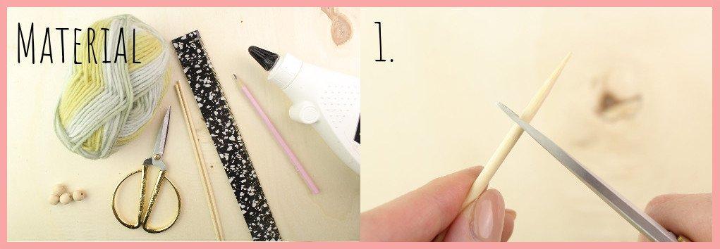 Weben ohne Webrahmen - Wanddeko selber machen mit frau friemel Schritt1