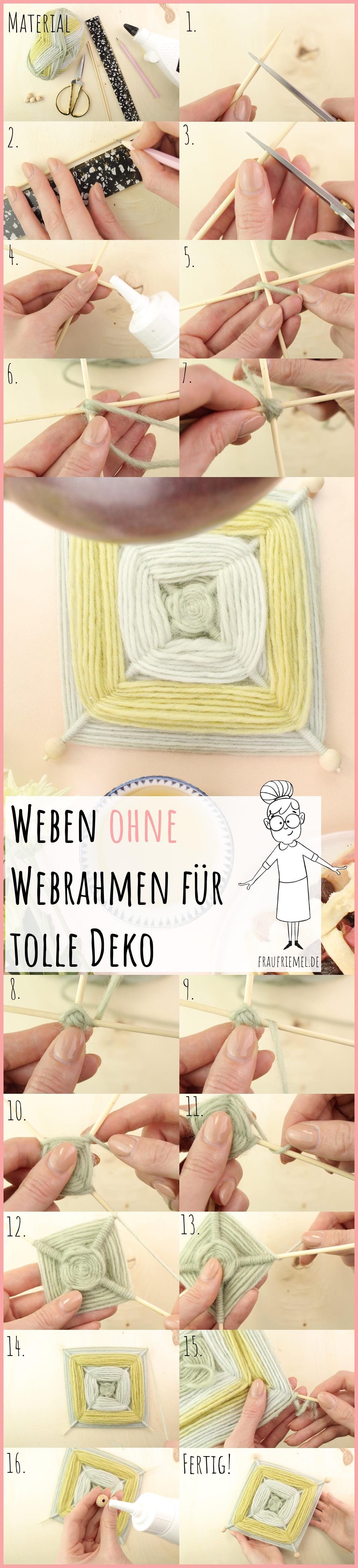 Weben ohne Webrahmen - Wanddeko selber machen mit frau friemel