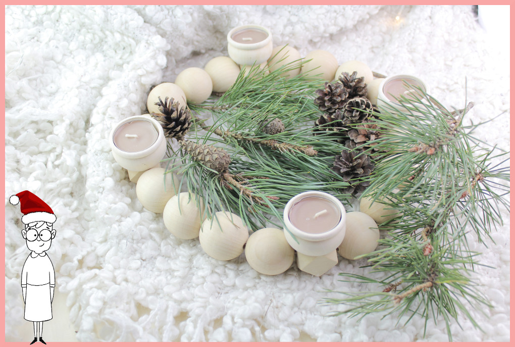 DIY Adventskranz basteln aus Holzkugeln mit frau friemel