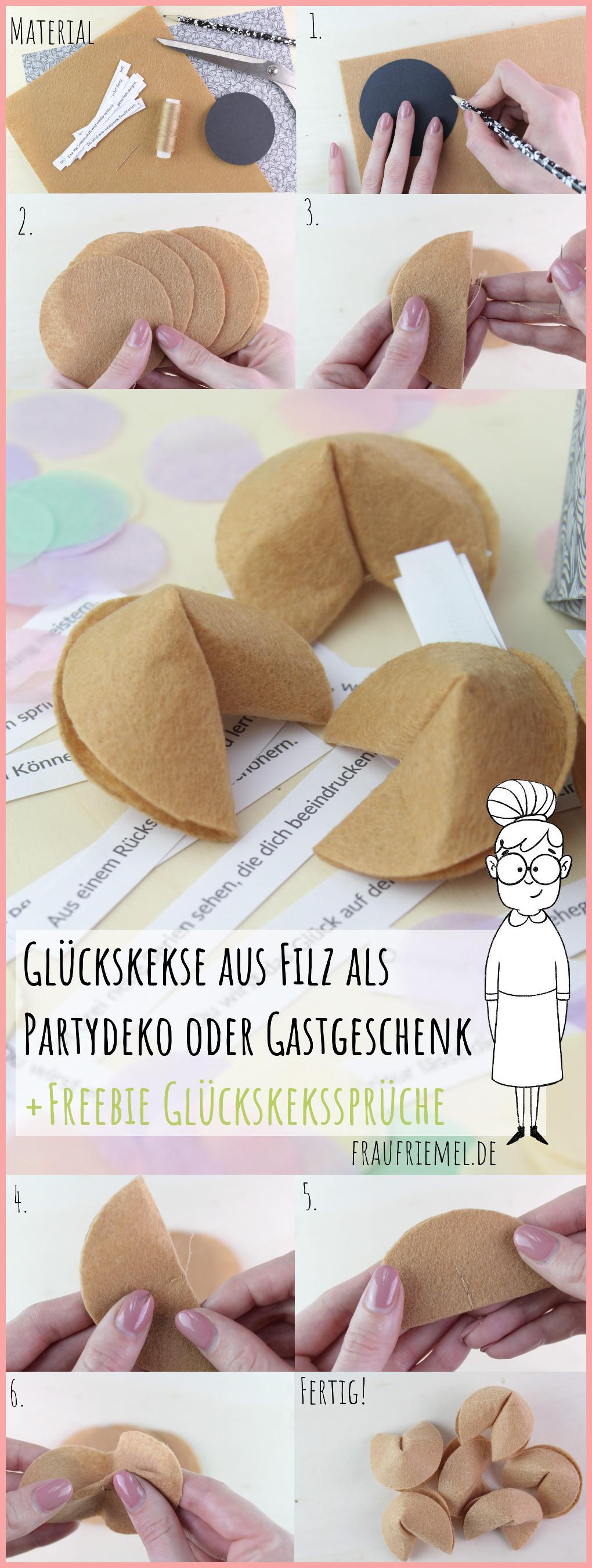 Gesamtanleitung Partydeko saelber machen - Glückskekse aus Filz