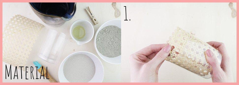 Betonwindlicht mit Wiener Geflecht selber machen mit frau friemel - Material und Schritt 1