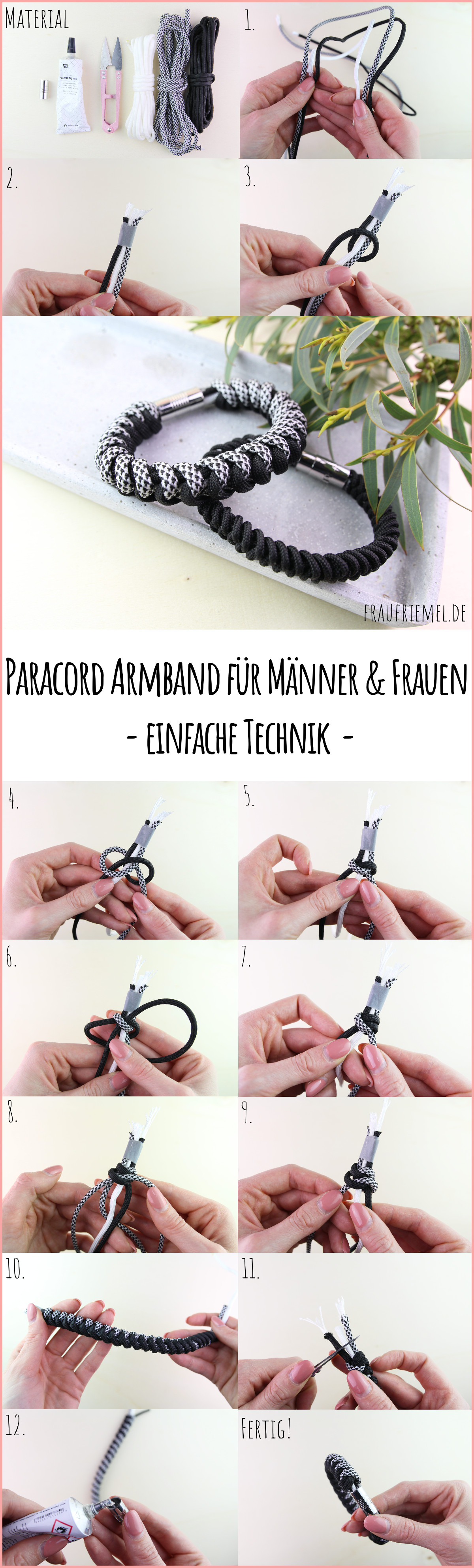 Paracord Armband flechten einfache Anleitung | frau friemel