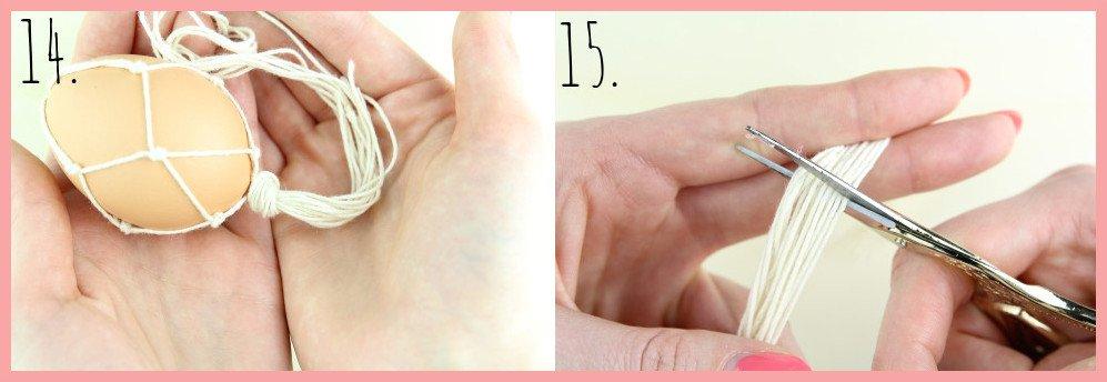 Boho Ostereier gestalten mit Makramee - Schritt 14-15