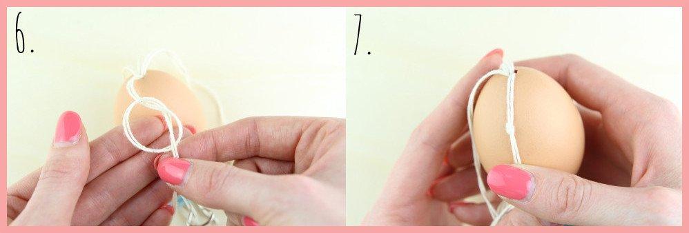 Boho Ostereier gestalten mit Makramee - Schritt 6-7