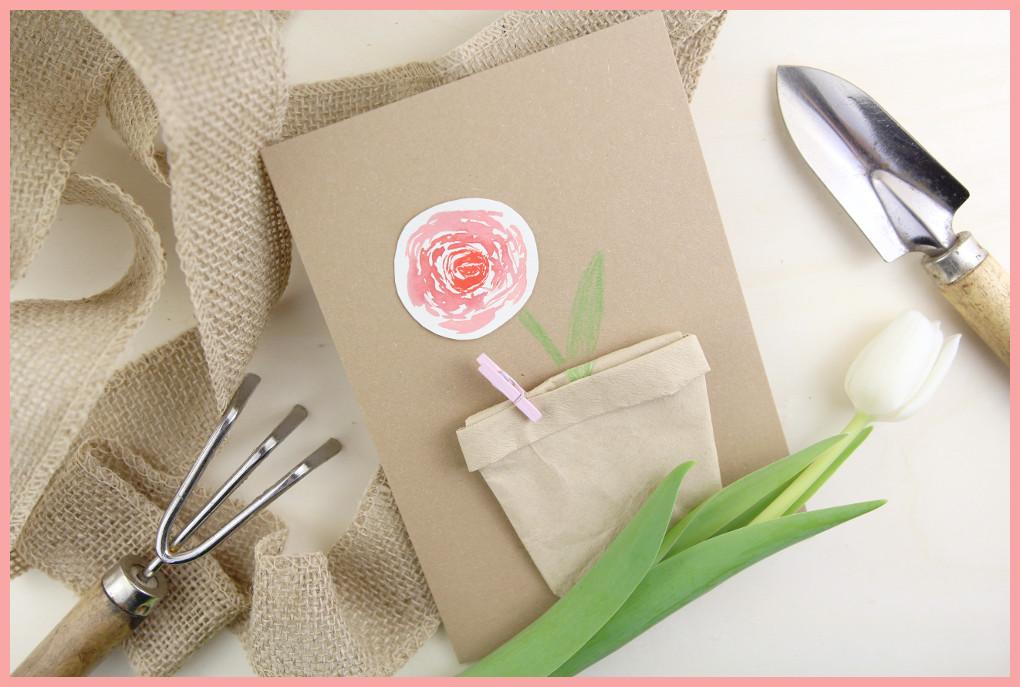 Kleines Muttertagsgeschenk selber machen - Karte mit Samentüte