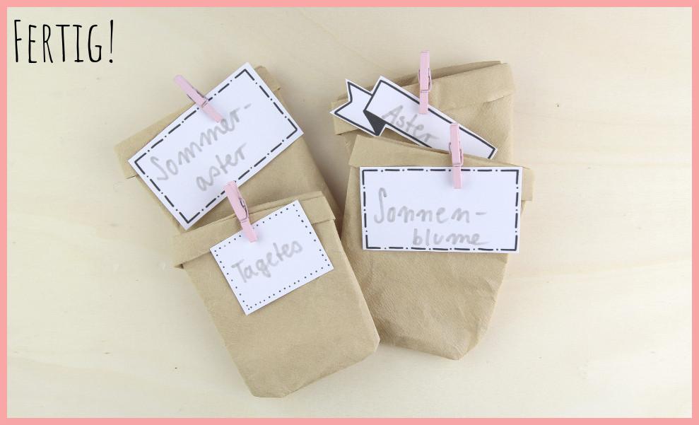 Kleines Muttertagsgeschenk selber machen - Samentüten basteln - 4 Versionen