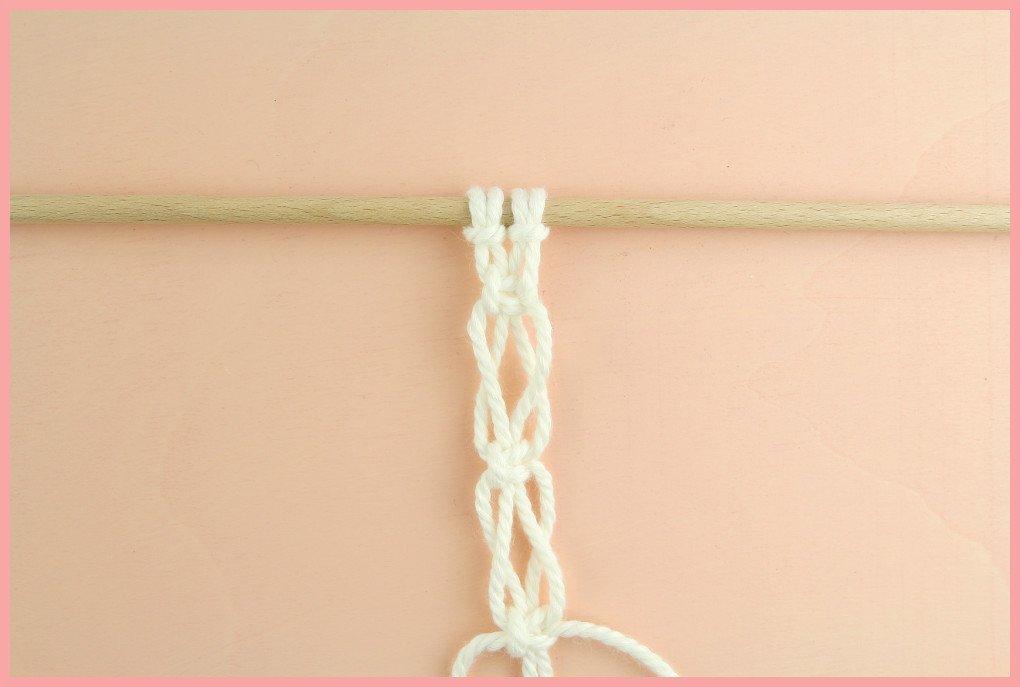Grundkurs Makramee knoten - Knotenarten Wechselnde Kreuzknoten