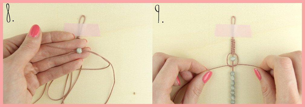 Makramee Armband Anleitung von frau friemel - Schritt 8-9