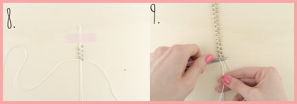 Makramee-Armband knüpfen mit Perlen mit frau friemel - Schritt 8-9