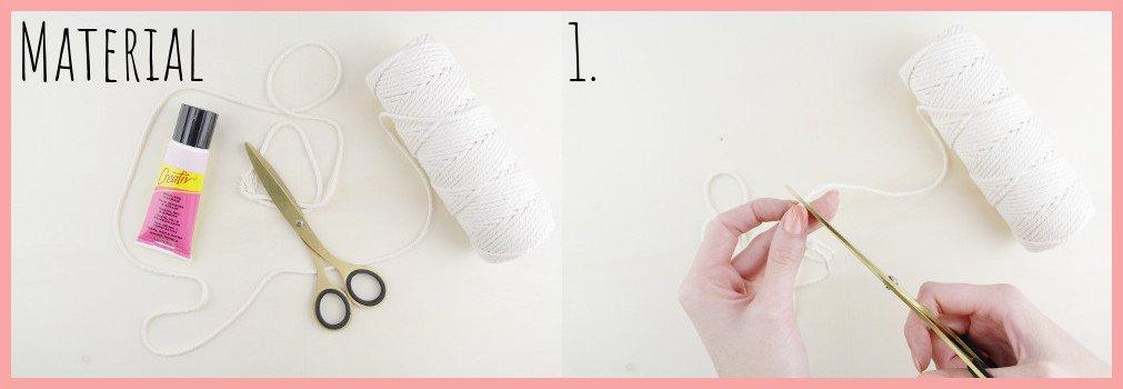 Makramee-DIY Brillenetui selber machen mit frau friemel - Material und Schritt 1