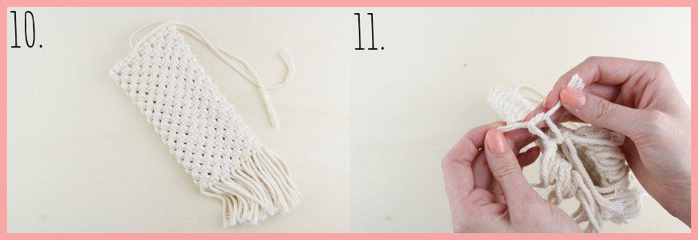 Makramee-DIY Brillenetui selber machen mit frau friemel - Schritt 10-11