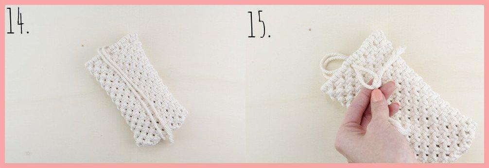 Makramee-DIY Brillenetui selber machen mit frau friemel - Schritt 14-15