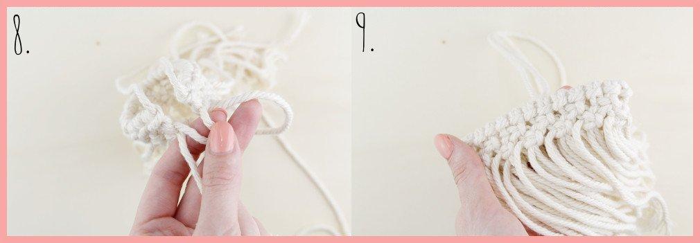 Makramee-DIY Brillenetui selber machen mit frau friemel - Schritt 8-9
