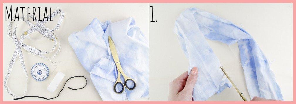 Knoten Stirnband selbermachen mit frau friemel - Material und Schritt 1