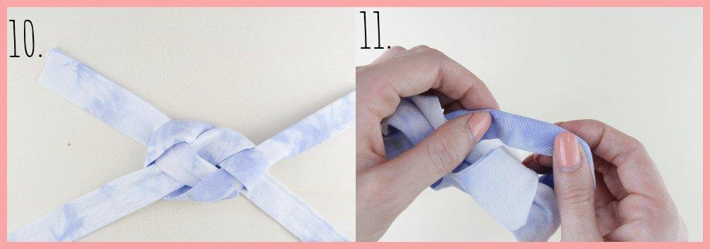 Knoten Stirnband selbermachen mit frau friemel - Schritt 10-11