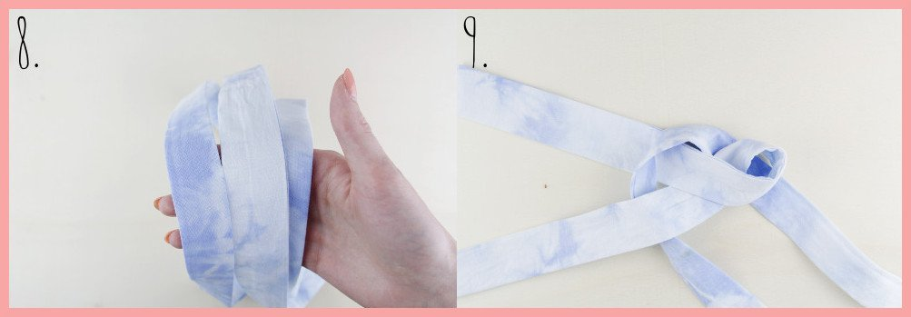 Knoten Stirnband selbermachen mit frau friemel - Schritt 8-9
