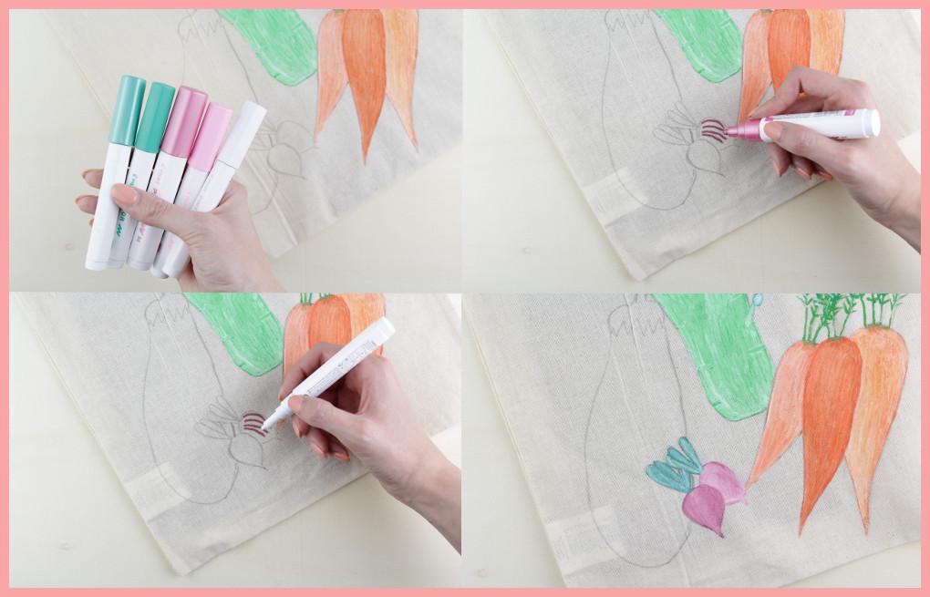Stoffbeutel bemalen mit Pilot Pintor - Radieschen malen mit frau friemel