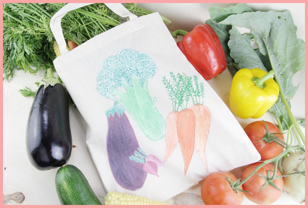 Stoffbeutel bemalen mit Pilot Pintor Stiften Ergebnis Gemüsebeutel