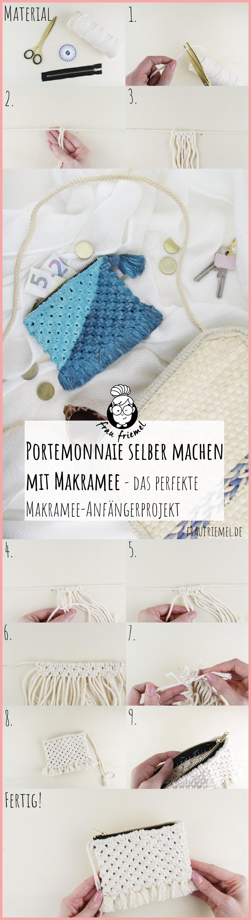 Makramee DIY Portemonnaie selber machen mit frau friemel - Gesamtanleitung